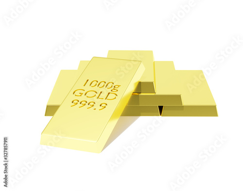 Photo Gold Bar of Aurum, Au Chemical Element Sign Isolated
