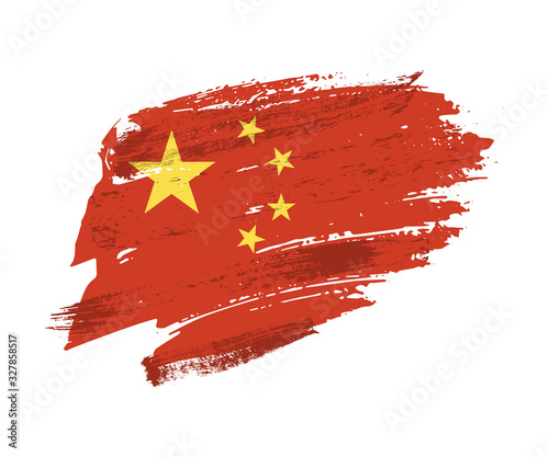 Vector Illustration grunge texture Chine flag Wallpaper Mural