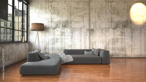 Fototapeta Minimalist loft conversion with textured walls obraz