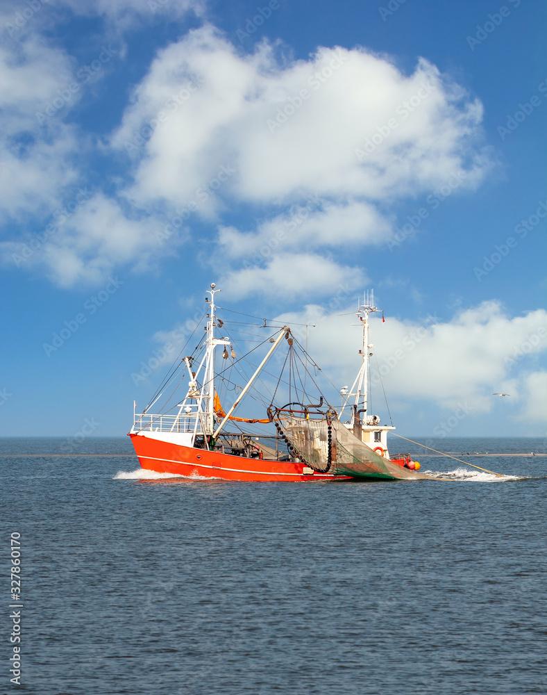 Fototapeta Krabbenfischerei im Wattenmeer Nationalpark,Nordsee,Deutschland