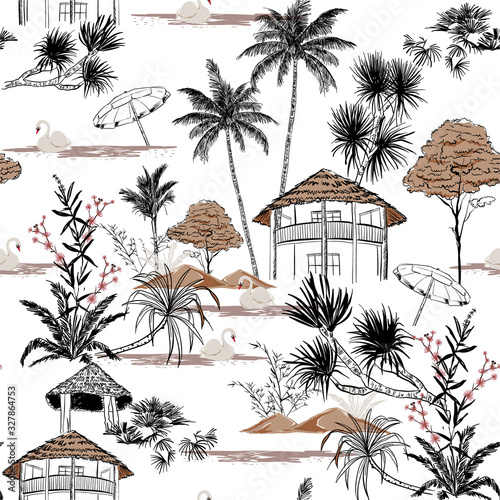 Fotomural Beautiful Hand drawn summer island with hut and swan vacation vibes seamless pat