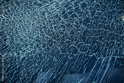 Cracked glass from car crash accidental with selective focusing Canvas Print