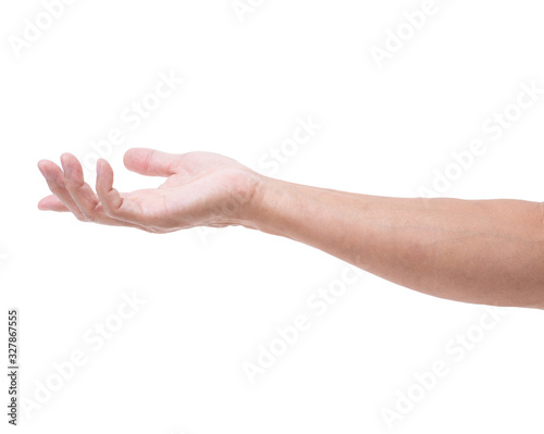 Asian man hand open on white background Fototapete