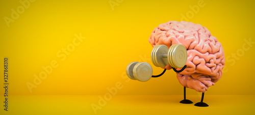 Fotomural brain training on yellow background
