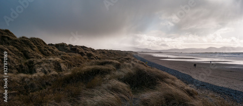 Stormy Scenic panorama view of grass blowing on sand dunes, Banna beach in count Fototapeta