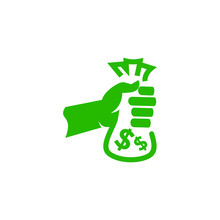 Hand Holding And Giving Bag Of Dollar Money Illustration Symbol Of Corruption People Logo
