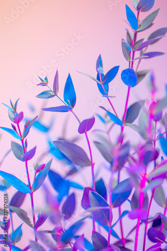 Light neon vertical background with leaves. Colorful botanical backdrop with vibrant gradients on petals. Nature branch with pink and blue vivid colors. Organic twigs with beautiful illumination