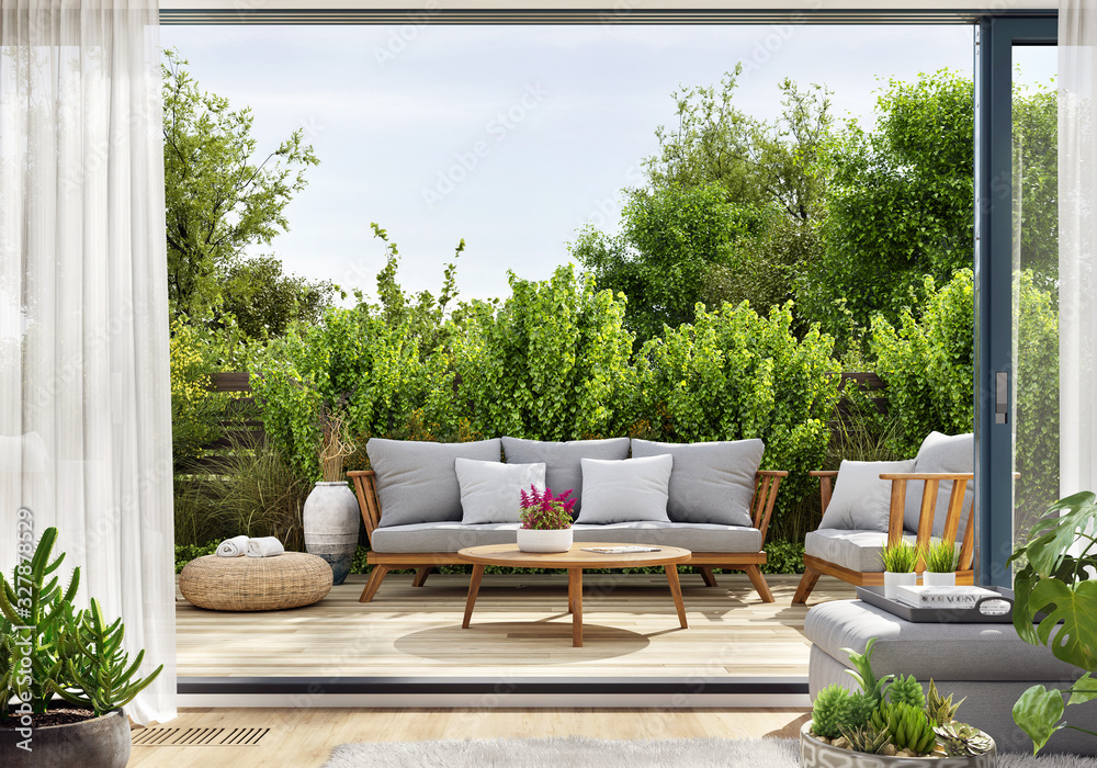 Fototapeta Cozy patio area with garden furniture, sliding doors and decking