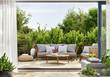 Leinwanddruck Bild - Cozy patio area with garden furniture, sliding doors and decking
