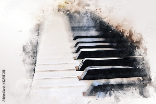 Photo Abstract colorful piano keyboard on watercolor illustration painting background