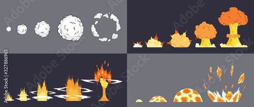 Photo Animation of explosion effect in cartoon comic style