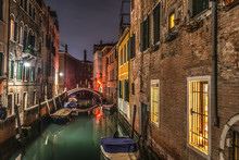 Small Canal In Venice At Night
