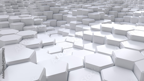 Abstract white hexagonal background. Ceramic hex tiles. Interior design concept. 3d render illustration. Geometry pattern. Random cells. Polygonal glossy porcelain surface. Architectural abstraction