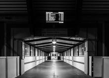 A Station Walkway At Night.