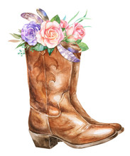 Watercolor Cowboy Boots With ...