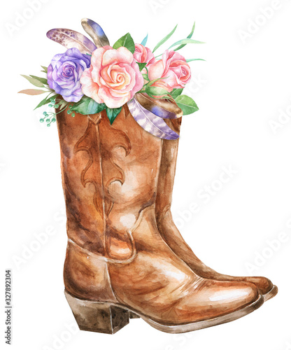Watercolor cowboy boots with floral decoration Tapéta, Fotótapéta