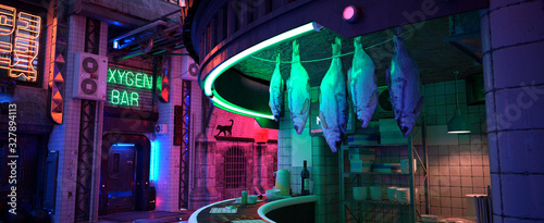 Neon night in a city of a future. Photorealistic 3D illustration. Wallpaper in a cyberpunk style. Empty street with neon lights. Dried fish hanging in a street cafe. Beautiful night cityscape. - 327894113