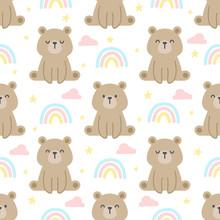 Teddy Bear And Rainbow Seamles...