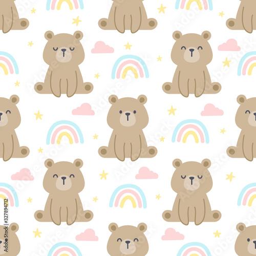 Teddy bear and rainbow seamless pattern background #327894712