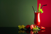 Tomato Juice With Celery On A ...