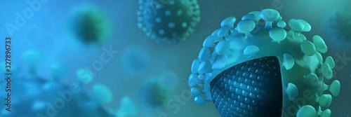 Obraz Coronavirus disease COVID-19 outbreak. Microscopic view of a infectious virus. Group of SARS-CoV-2 virus cells. 3D Rendering - fototapety do salonu