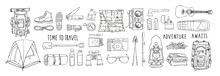 Set Of Vector Elements Isolated On White. Hiking Gear For Camping Trips. Backpack, Boots, Tent, Sleeping Bag, Compass, Map, Flashlight, Binoculars, Camera, Reusable Bottle. Handwritten Lettering