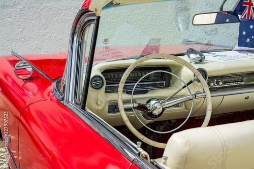 Old car Cadillac Convertible red 1950. Canvas Print