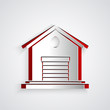 Paper cut Warehouse icon isolated on grey background. Paper art style. Vector Illustration