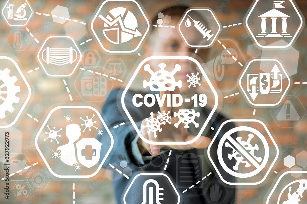 Fototapeta COVID-19 Business Finance Crisis Concept. Coronavirus Danger Pandemic. Global stress of world economy.