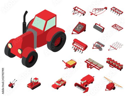 Fotografie, Obraz Agricultural machines icons set