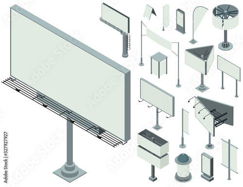 Outdoor advertising icons set. Isometric set of outdoor advertising vector icons for web design isolated on white background Wall mural