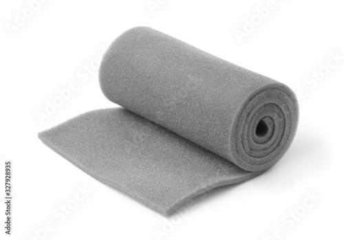 Leinwand Poster Roll of gray foam rubber
