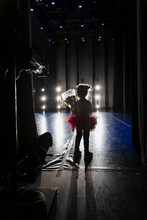 Silhouette Cute Girl Ballerina Holding Bouquet Off Stage
