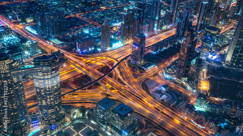 Fototapeta Dubai, United Arab Emirates - February 19, 2020 :  Aerial View Of Skyscraper Building At Night  obraz na płótnie
