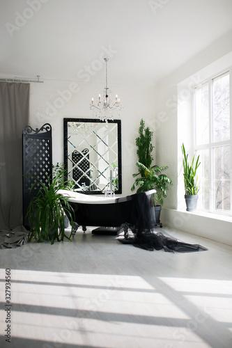 Fototapeta Exclusive modern black and white bathroom interior in luxury mansion with big window obraz