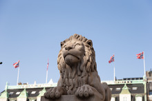 One Of The Two Lion Sculptures At The Entrance Plateau Of The Norwegian Parliament In Oslo, Which Have Given The Name To Løvebakken (The Lion Hill).