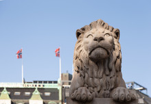 One Of The Two Lion Sculptures...