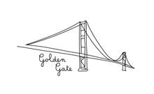 One Line Style Golden Gate Bri...