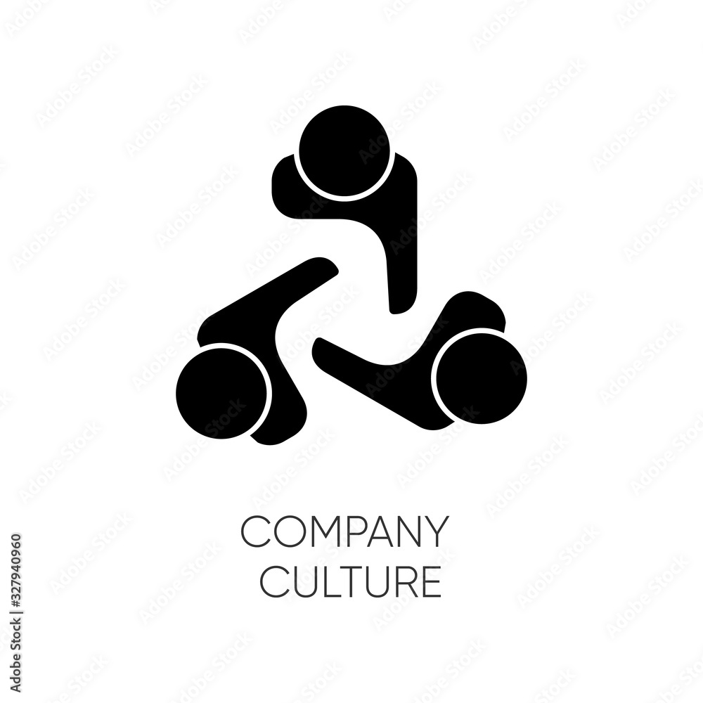 Fototapeta Company culture black glyph icon. Internal corporate ideology, professional business ethics silhouette symbol on white space. Staff togetherness, personnel communication. Vector isolated illustration