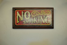 """""""No Smoking"""" Warning Sign. Made Of Wood With Classic Style Letters."""