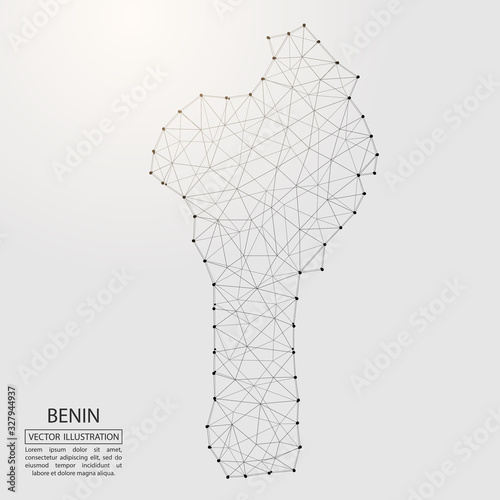 A map of Benin consisting of 3D triangles, lines, points, and connections Wallpaper Mural
