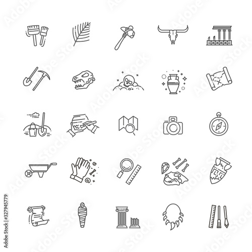 Photo archeology vector line icons set