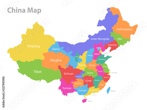 China map, administrative division, separate individual region with names, color Canvas Print
