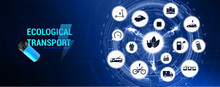 E-mobility Web Page Banner, With Icons And Keywords. Ecological City And Public Transport. Worldwide Individual Transportation (e-car, E-bike, Electric Trains, Trams, Trolleybuses And Other). Vector