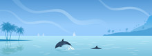 Dolphin Diving Out Of The Water Against The Backdrop Of A Tropical Landscape. Panorama Of Nature In Vector. Paradise Islands With Palm Trees Silhouettes.