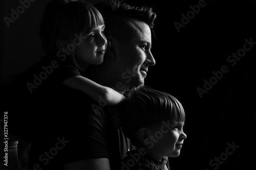 caucasian Family Portrait in Black and White Poster Mural XXL