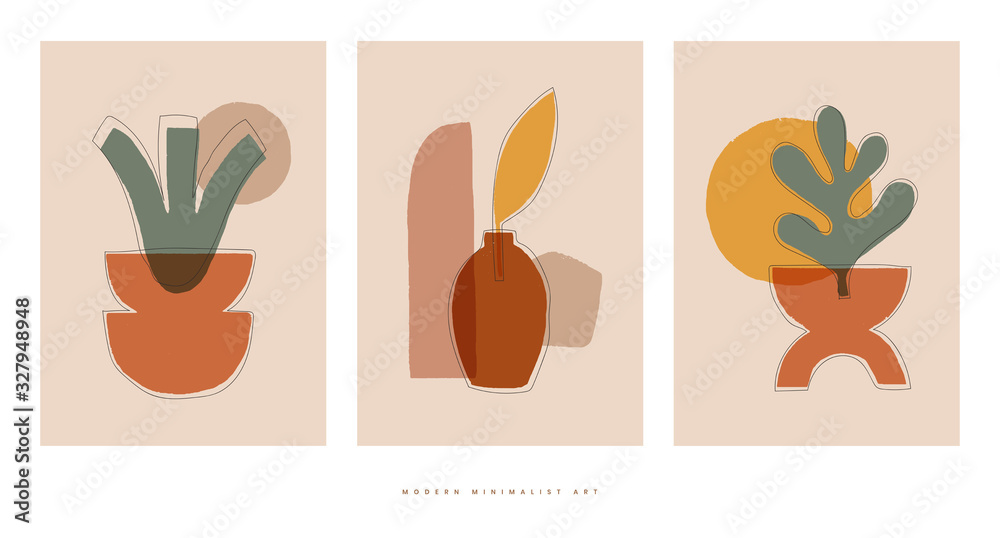 Set of trendy compositions with abstract botanical shapes vector illustration. Modern minimalist art. Flat creative design for posters or social media content.