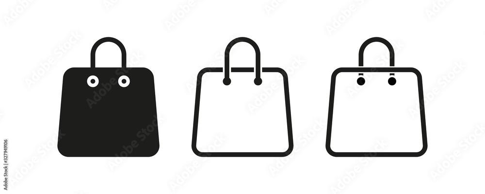 Fototapeta Bag shopping vector isolated icons collection. Line shopping bag icon. Eco bag icon.