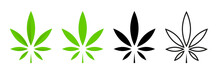Cannabis Leafs Vector Isolated Icon. Vector Illustration. Cbd Cannabis Sign Hemp Oil. Marijuana Icon Set. Cannabis Icon Weed Icon Vector.