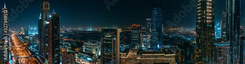Photo Dubai skyline downtown at night panorama, UAE